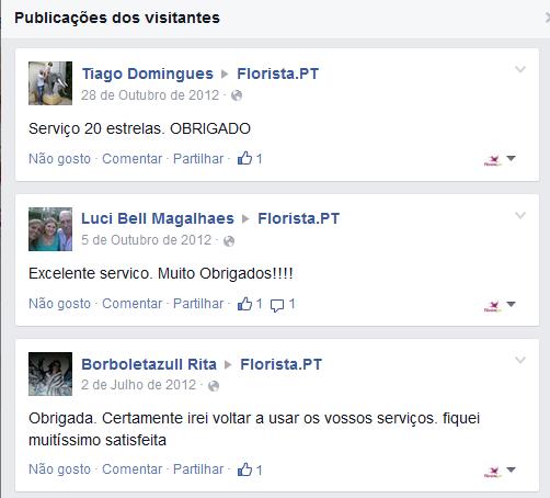 comentários de utilizadores satisfeitos no facebook